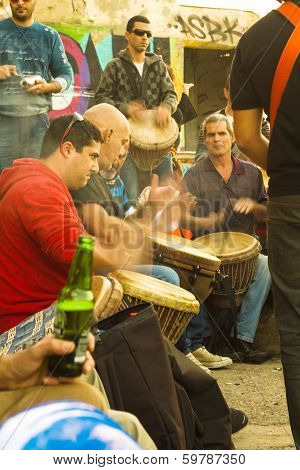 Group Of People Playing The Darbuka .