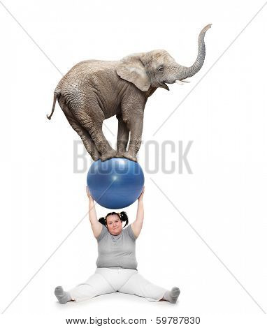 Obese woman lifting of young elephant.