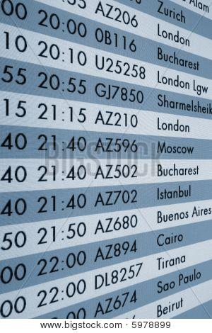 Schedule Display In Airport Terminal