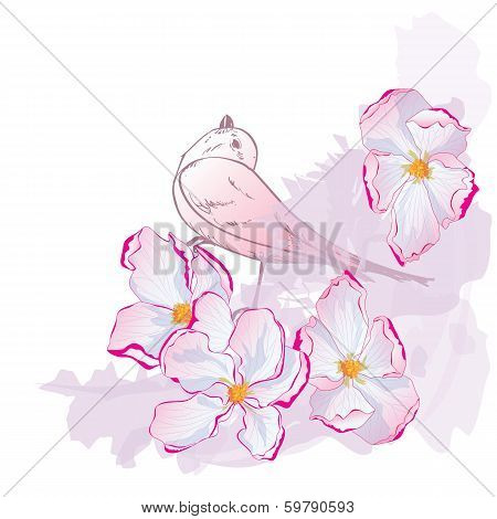 Floral Pattern With Bird