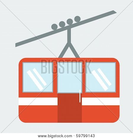 Funicular Cable Car Illustration