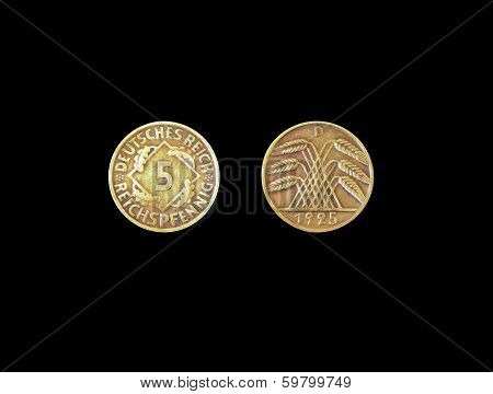 Deutsches reich 5 pfenning coin