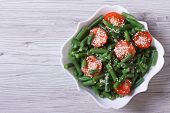 image of sesame seed  - Salad of green beans cherry tomatoes and sesame seeds in a beautiful white plate - JPG