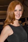 NEW YORK-FEB 10: Actress Sarah Rafferty poses backstage before the Dennis Basso fashion show during