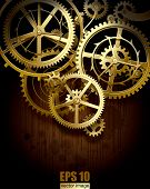 Vector background with golden gear wheels on dark dirty surface with blots