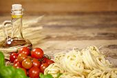 stock photo of spaghetti  - Italian food background - JPG