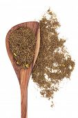 foto of naturopathy  - Goldenseal root herb used in herbal medicine in a wooden spoon over white background - JPG