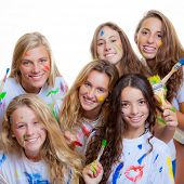 picture of tween  - fun with paint at summer camp - JPG