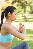 stock photo of namaste  - Side view of a sporty young woman in Namaste position with eyes closed at the park - JPG