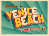Vintage Touristic Greeting Card - Venice Beach, California - Vector EPS10. Grunge effects can be eas