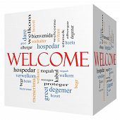 Welcome Foreign Language 3D Cube Word Cloud