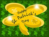 stock photo of fourleaf  - editable eps vector format jpeg green fourleaf clover background with large shinny gold shamrock in center with text happy st - JPG