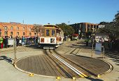 Cable car on turntable at Hyde and Beach Terminal in San Francisco