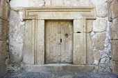 pic of burial-vault  - a massive stone door at Beit Shearim an ancient jewish necropolis in Israel - JPG