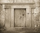 foto of burial-vault  - a massive stone door at Beit Shearim an ancient jewish necropolis in Israel - JPG