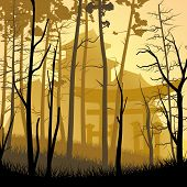 image of yellow castle  - Vector square art illustration of forest trees on background of castle in Asian style - JPG