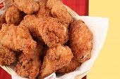 foto of fried chicken  - basket of crispy fried chicken - JPG