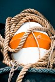 stock photo of pontoon boat  - buoy and rope on the fishing boat - JPG