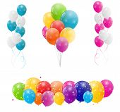 foto of helium  - Color glossy balloons background vector illustration - JPG