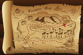 stock photo of treasure  - A vector illustration of an old treasure map - JPG