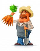 pic of root-crops  - Gardener with carrot and shovel - JPG