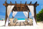 image of pergola  - Beautiful caribbean beach with pergola in Dominican Republic - JPG