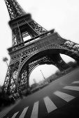 stock photo of mona lisa  - Iron Construction of one of the famous european and french landmark Eiffel Tower in Paris - JPG