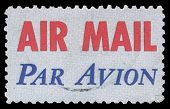 USA-CIRCA 1973: A United States Airmail postage sticker, showing red AIR MAIL with blue PAR AVION, d
