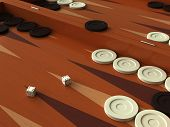 picture of draught-board  - 3D render of a backgammon game board - JPG