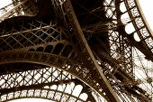 stock photo of mona lisa  - Iron Construction of one of the famoust european and french landmark Eiffel Tower in Paris - JPG
