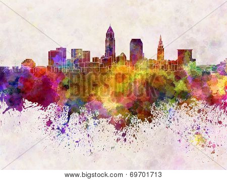Cleveland Skyline In Watercolor Background