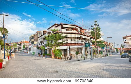 HANIOTI, GREECE - MAY 25, 2014: Central square in Hanioti on Kasandra penisula on May 26, 2014, Halkidiki. Greece.Chaniotis visit more than 200 000 European tourists every year.