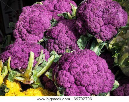 Purple Cauliflowers At A Farmers Market