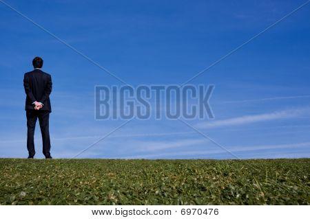 Business Man On A Hillside