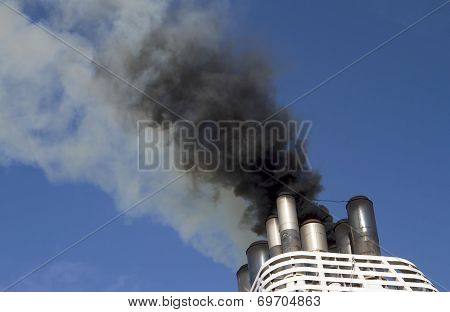 Ships funnel emitting thick black smoke