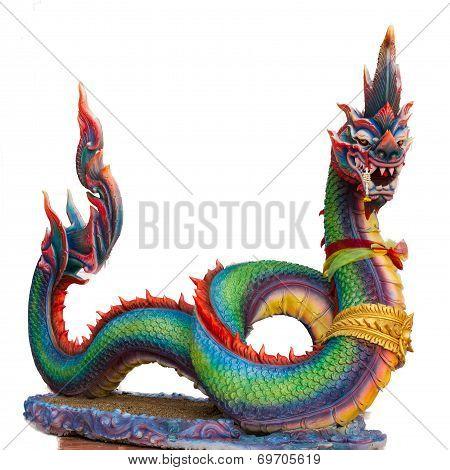 Naga (holy Giant Snake) Isolated On White Background