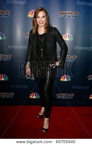 NEW YORK-AUG 6: Singer Lzzy Hale of Halestorm attends the 'America's Got Talent' post show red carpet at Radio City Music Hall on August 6, 2014 in New York City.