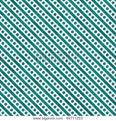 Bright Teal And White Small Polka Dots And Stripes Pattern Repeat Background