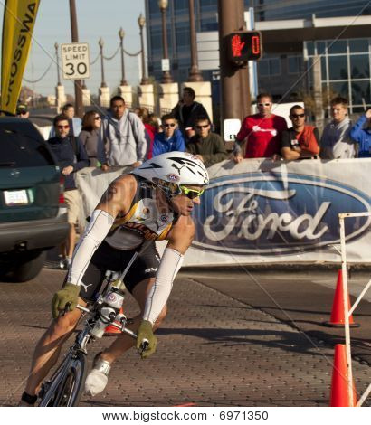 Competitor Racing in the Arizona Ironman Triathlon