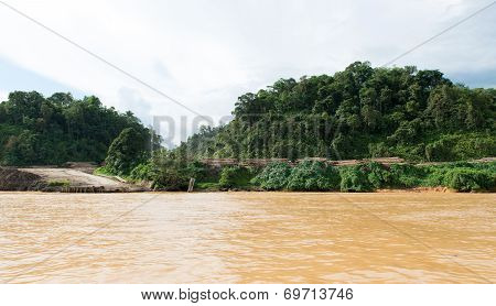 Timber Logging Site Along Sarawak Rejang River