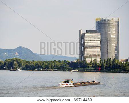 River And Skyscraper Bonn