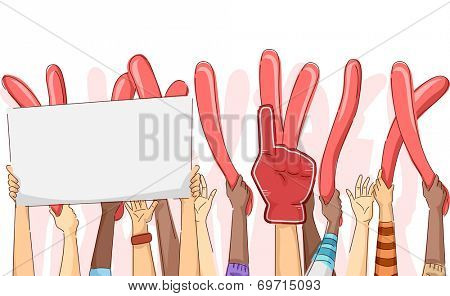 Cropped Illustration Featuring a Group of Party Goers With Their Hands Up