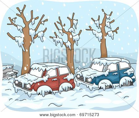Illustration Featuring Cars Stuck in Street After a Snow Storm