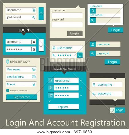 user interface login and account registration