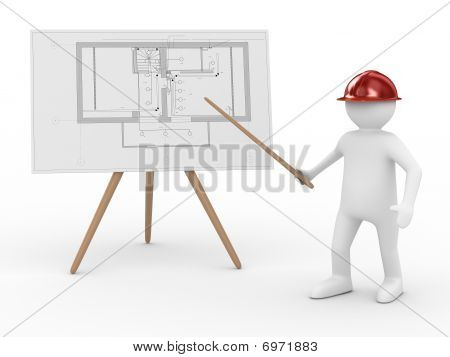 Engineer At Board With Plan. Isolated 3D Image