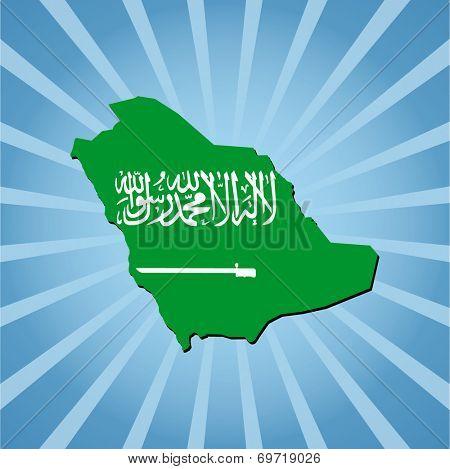 Saudi Arabia map flag on blue sunburst illustration
