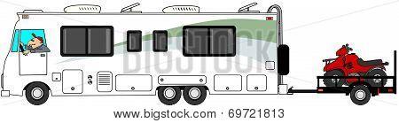 Motorhome towing ATV trailer
