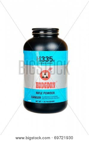 Hayward, CA - August 7, 2014: 1Lb container of Hodgdon H335 spherical brand smokeless rifle powder