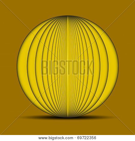 Abstract oval yellow background with shadow on the bottom