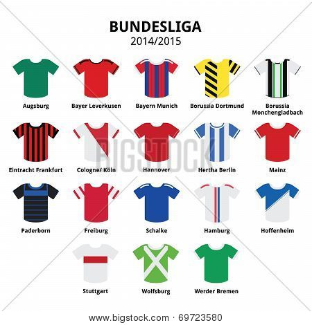 Bundesliga jerseys 2014 - 2015,German football league icons